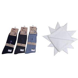 Combo - Formal 1 Pairs Mens Socks 1 white Handkerchief