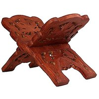 Wooden Folding Religious Book Stand Holder With Intricate Carvings - By UBB