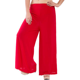Wetern design Red color Rayon lycra Plazzo Pant For Women
