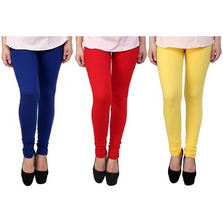 Stylobby Blue Yellow And Red Kids Legging Pack Of 3