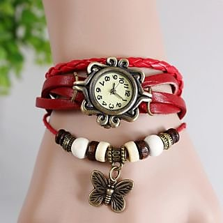 Round Dial Red Leather Strap Womens Watch