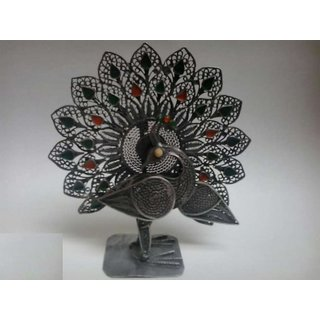 Silver Color Metal Peacock - Special Showpiece