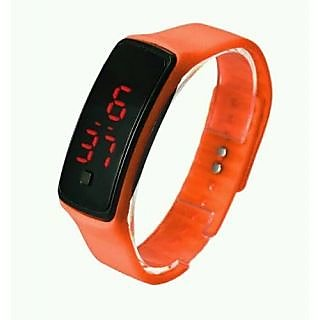 LED Digital Watches Jelly Men/women Orange Wrist Watch