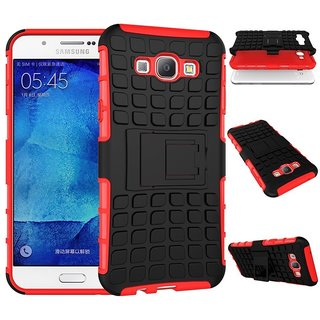 Feomy Kick Stand Armor Hybrid Bumper Cover For Samsung Galaxy J1 -Red
