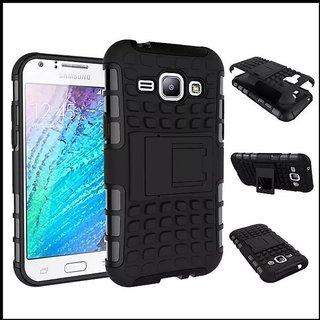 Feomy Kick Stand Armor Hybrid Bumper Cover For Samsung Galaxy J1 -Black