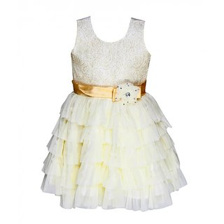 Chipchop Off-white Embellished Evening western Dress for Girls