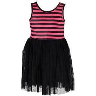 Chipchop Black Striped Evening western Dress for Girls