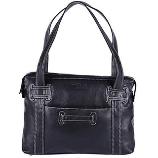 Hidekraft Womens Black Leather Bag