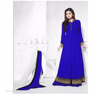 Thankar Blue And Black Embroidered Georgette Anarkali Suit