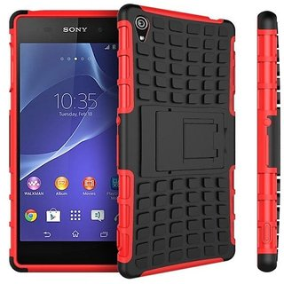 Feomy Kick Stand Armor Hybrid Bumper Cover For Sony Xperia Z3 -Red
