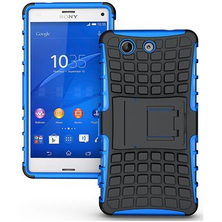 Feomy Kick Stand Armor Hybrid Bumper Cover For Sony Xperia Z3 Compact -Blue