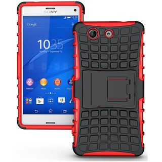 Feomy Kick Stand Armor Hybrid Bumper Cover For Sony Xperia Z3 Compact -Red