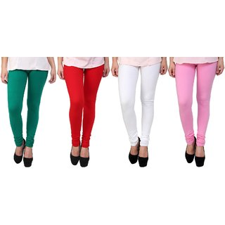 Stylobby Green, Red, White And Baby Pink Kids Legging Pack Of 4