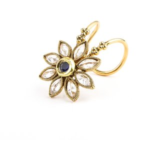 Bridesmaid Finger Ring Studded With American Diamond  Blue Stone