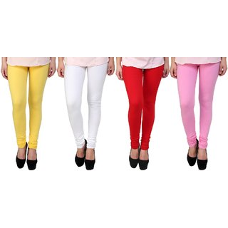 Stylobby Yellow, White, Red And Baby Pink Kids Legging Pack Of 4