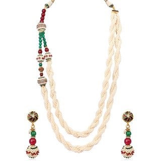 Adwitiya chain set with beautiful multi colouring pearls works