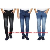 Wajbee Blue  Black Mid Rise Jeans For Mens (Pack Of 3)