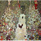 Garden Path With Chickens By Klimt Printed Painting