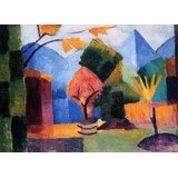 Garden On The Lake Of Thun By Macke Printed Painting