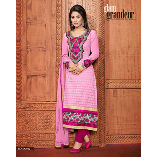 Manvaa Incredible Pink Santoon Embroidered Unstitched Straight Salwar SuitAS8012
