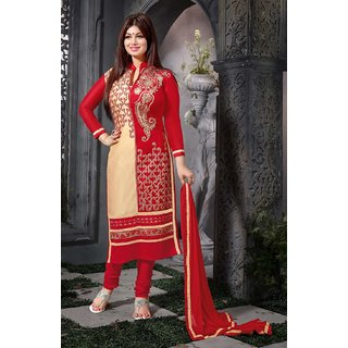 Manvaa Fascinating Beige  Red Semi-Cotton Embroidered Dress MaterialKATZ1006