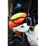 Holy Cow In Search Of God Krishna Printed Painting