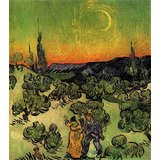 Landscape With Couple Walking And Crescent Moon Printed Painting