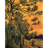 Pine Trees Against A Red Sky With Setting Sun Printed Painting