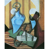 Still Life With Bottle And Glass Printed Painting