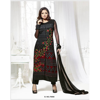 Thankar Black And Red Embroidered Net Straight Suit