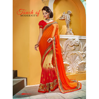 Manvaa Fascinating Beige  Red Georgette border work SareePTM2807