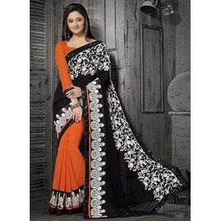 Manvaa Offing Black With Orange Chiffon Embroidered fancy border Saree  BB35017