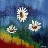 White Flowers - The Abstract Way Printed Painting