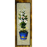 White Flowers With Blue Vase Printed Painting