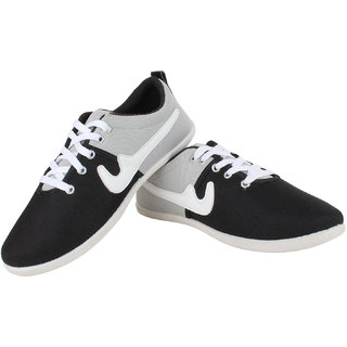 Sess Mens White,Black Lace-up Casual Shoes