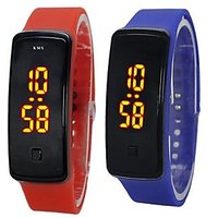 NEW LED DIGITAL Watch Combo For Men/boys/girls By Branded S2S Watch (BLUE+RED)