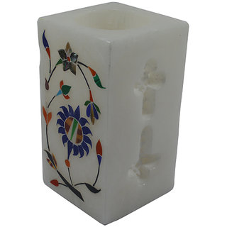Craftuno Handcrafted Marble Pen Stand With Inlay Work  Carving