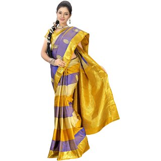 Pure Silk  Kanjeevaram Hand woven Saree-Multicolor-DHLS35-Silk