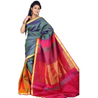 Pure Silk  Kanjeevaram Hand woven Saree-Blue-JG23-Silk