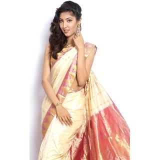 Pure Silk  Kanjeevaram Hand woven Saree-White-MCSS15-Silk