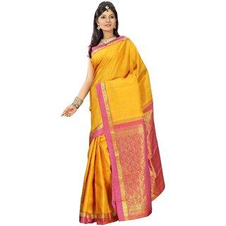 Pure Silk  Kanjeevaram Hand woven Saree-Yellow-MKJ36-Silk