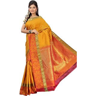 Pure Silk  Kanjeevaram Hand woven Saree-Yellow-MKJ37-Silk