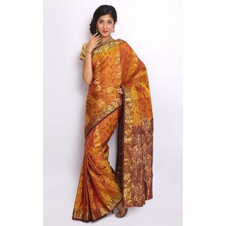 Pure Silk  Kanjeevaram Hand woven Saree-Yellow-RRAN20-Silk