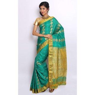 Pure Silk  Kanjeevaram Hand woven Saree-Blue-RRAN25-Silk