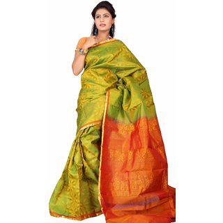 Pure Silk  Kanjeevaram Hand woven Saree-Green-SAB17-Silk