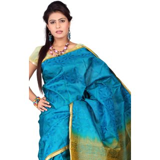 Pure Silk  Kanjeevaram Hand woven Saree-Blue-SAB31-Silk