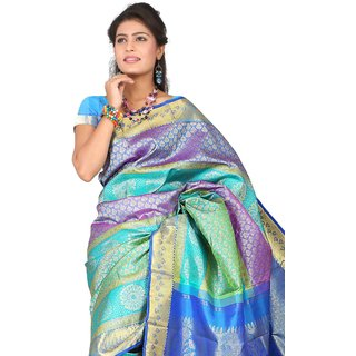 Pure Silk  Kanjeevaram Hand woven Saree-Multicolor-SAS13-Silk