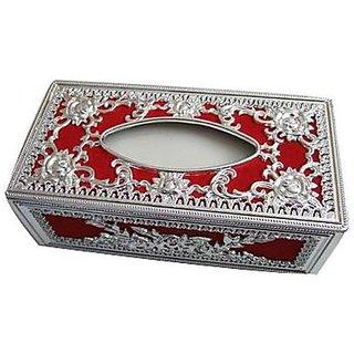 Autostark Srd-5133 Silver And Red Designer Holder Box Vehicle Tissue Dispenser (Silver Red)