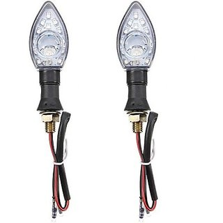 Autostark Motorcycle Round Lens White Brl-79 Tvs Max 4R Led Indicator Light (White Pack Of 2)
