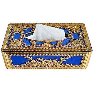 Autostark Gbl-5131 Golden And Blue Designer Holder Box Vehicle Tissue Dispenser (Gold Blue)